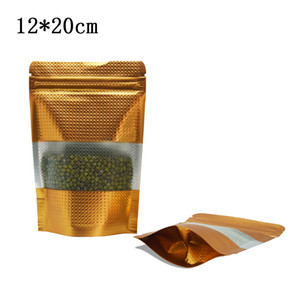 12 * 20 cm oro goffrato in alluminio sacchetto di imballaggio 100pcs / lot Stand UP UP UP UP Lock con zip Reclosable Blocco di imballaggio Borsa da imballaggio Cibo Borsa Mylar con finestra