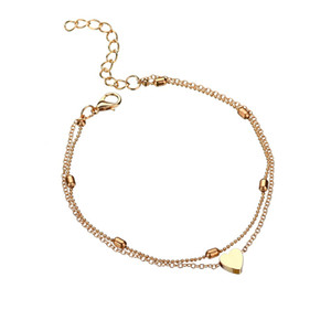 Double love beach Anklets peach heart