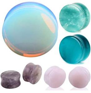 NUEVO Expansor de orejas Piercing de oreja 1 par de Opalite Stone Ear Plugs Túneles Calibres Expander Body Piercing joyería