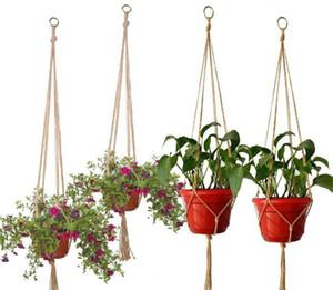 New Patio Hanf Seil geflochtene Hanger Topf Grünpflanze Blumentopf hängenden Seil Korb Hand Weave