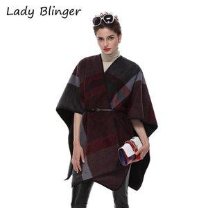 Lady Blinger classique plaid enveloppe cape de faux cachemire épais poncho d'hiver en laine de luxe volé grande taille pashmina