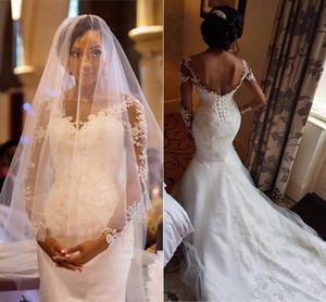 Meerjungfrau Langarm Brautkleider mit Lace-up 2019 Sheer Hals Spitze Applique Perlen Korsett Nigeria Afrikanische Trompete Brautkleid