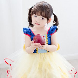 Ins Hot Snow White Princess Dress para niñas de manga corta vestidos de fiesta de encaje vestidos de fiesta de tutú