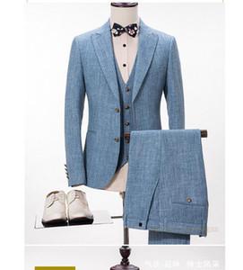 2018 джентльмен небесно-голубой на заказ мужские свадебные смокинги 4 шт. Комплект Groomsmen Side Vent Лучший формальный мужской костюм мужские костюмы мужские жених