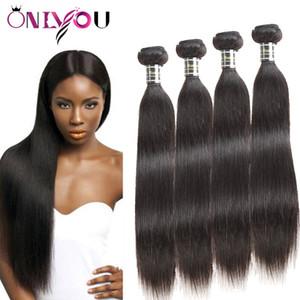 Onlyouhair Peruvian Remy Hair Bundles Cabello Humano Recto Teje Extensiones de Cabello Vírgenes Brasileñas 8a Baratas Straight 4 Bundles Factory Deal