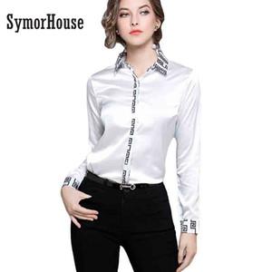 SymorHouse Nouveau Femmes Blouses en vrac manches longues en mousseline de soie blanc Chemisier Hauts Casual Shirt Impression Vintage Vêtements pour femmes Blusas