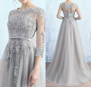 Gorgeous Light Gray Mother of the Bride Dresses Illusion Sheer with Applique Major Beading Zipper Back Mother of The Bride Dresse
