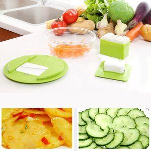 Novo Design Multifuncional Mandoline Vegetal Slicer Dicer Fruit Slicer Slicer Ralador Com 4 Lâminas de Aço Inoxidável Intercambiáveis