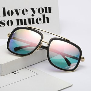 2019 European and American fashion, men's sunglasses, fashion, antique, metal lady, big box, couple, toad, round face, sunglasses.