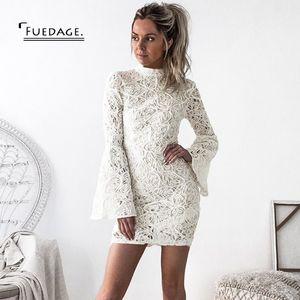 Fuedage otoño invierno encaje ahueca hacia fuera el vestido de las mujeres 2017 nueva vaina sexy vestidos en blanco Club de oficina partido mujeres mini vestidos