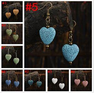 Rocce vulcaniche colorate a forma di cuore Perle di pietra lavica Orecchini fatti a mano collana di gioielli fai da te Supporto FBA Drop Shipping