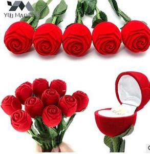 Hochwertige Harte Beflockung Valentinstag Schmuckschatulle Rote Rose Mit Niederlassung Ring Schmuckschatulle Kreative Ringschatulle