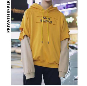 Privathinker 2018 Printemps Sweat à capuche coréen Hommes Streetwear Bts Mens Hoodies Homme Ripped Faux Deux pièces Sweat à capuche
