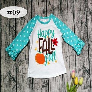 """""""HAPPY FALL"""" carta de impressão dia de ação de graças crianças de algodão ICING raglan tshirt bebê azul dot mangas plissado branco tops bebê unicórnio camisas 20sty"""