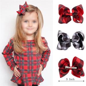 Bebé 5 pulgadas de Poliéster Grosgrain Cinta Plaid Bowknot horquillas niñas Regalo de Navidad Pasadores accesorios para el cabello Bow Bubble Kids Headdress Pinza de pelo