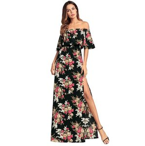 Women Sexy strapless dress Europe and the United Statesstrapless sexy lotus leaf sleeve dress print long skirt