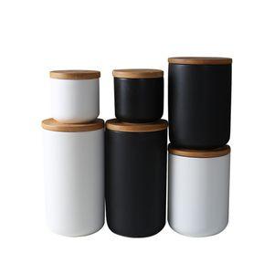 Boîte en céramique de café étanche à l'air avec le couvercle en bambou scellé, récipient de récipient de stockage de nourriture de cuisine de 800ml pour le grain de noix de grain de café de sucre de thé