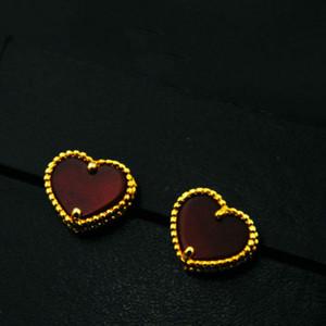Laiton 18K plaqué or Agate coeur lettre Stud boucles d'oreilles bijoux pour femmes cadeau de mariage de marque