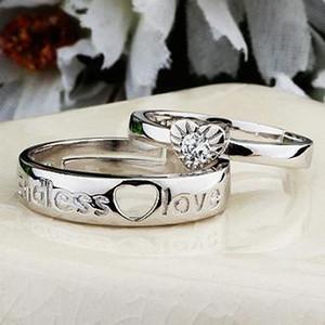 S925 الفضة الاسترليني مجوهرات زوجين حلقات رجل امرأة القلب لا نهاية لها رسالة حب الذهب الأبيض عاشق حلقة تعديل الأزياء هدايا عيد 6 قطع