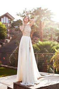 2020 nuovo sexy poco Julie Vino Estate Una linea Pizzo Abiti da sposa Halter Backless vestido de novia Split Spiaggia Abiti da sposa