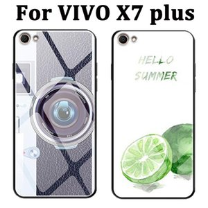 Casos de vidro temperado pintado para vivo x7plus case tampa traseira do escudo vivantx7plus protetora para vivo x7 plus case coque pele