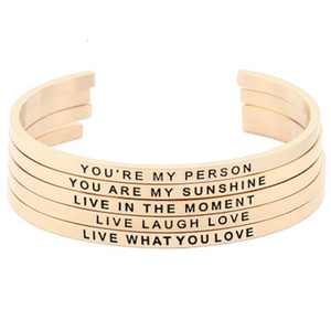 Stainless Steel Open Cuff Bracelet Letter Gold Bangle Engraved Message Motivational Inspirational Words Bracelets Jewelry Christmas Gift