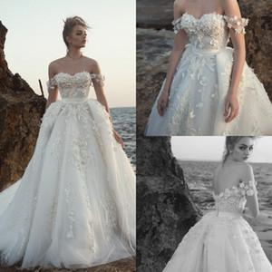 2020 bescheidene Brautkleider mit Blumen und 3D-Blütenspitze im arabischen Nahen Osten Church Long Sleeves Wedding Gown Off Shoulder
