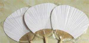 Fan di carta di numero squisito intorno a due lati Fan in bianco con cornice in bambù e maniglia Calligrafia Pittura Matrimonio Facile Carry 3qx cc
