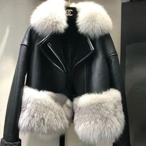 Cálido Invierno Otoño Escudo real mujeres de la piel Con el Real Fox borde de piel genuina piel de gamuza chaquetas de la piel