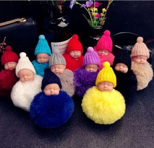 12 ألوان لطيف النوم الطفل دمية المفاتيح pompom الأرنب الفراء الكرة مفتاح سلسلة كيرينغ المرأة مفتاح حامل حقيبة قلادة سحر اكسسوارات