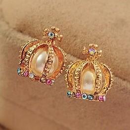 Crown Pearl Crystal Retro Stud Earrings Rhinestone Cross Design pendientes de moda para mujer