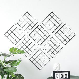 Black White Foto Mostrar Painéis grade de arame Despensa Decoração Wall Hanging Organizer 20CM Ferro Rack para Pequenas Centrais GS03