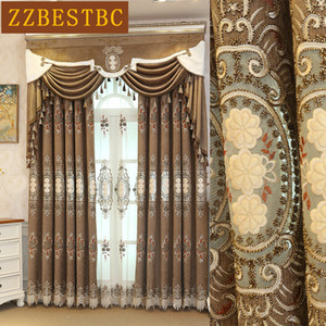 Top europeo marrón villa de lujo bordado blackout cortinas para sala de estar cortina de gasa clásico para el tratamiento de la ventana del dormitorio