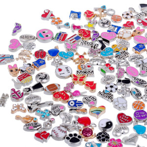 Tsunshine Wholesale 50pcs Floating Charms Lot für DIY Glass Living Memory Medaillon Mix Silber Gold Farbe