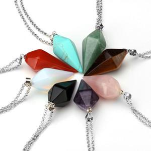 Hot Sale Pendulum Crystal Pendant Necklace Natural Stone Charms Gem Hexagon Pyramid Reiki Healing Chakra Amulet Jewelry For Men Women