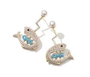 Sea kreative und lustige Perle Hai Ohrringe