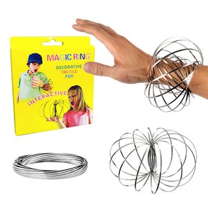 Toroflux Flow Ring Toys Acciaio inossidabile Kinetic Spring Metal SUS 304 Toroflux Magic Flow Anello 3D Sculpture Ring Interactive Gift Toy 5 pollici