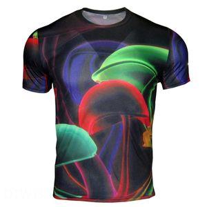 Wholesale Free Shipping men polyester milk silk 3d digital printing light mush color ring summer casual t shirts