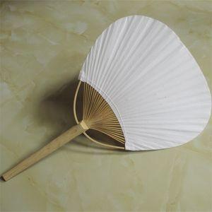 Gran número abanico de papel redondo de dos caras en blanco con el marco de bambú y la manija de caligrafía pintura boda regalos del partido 3qx jjkk
