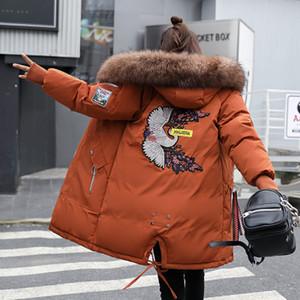 Diseñador de la mujer abrigos de invierno Nuevas mujeres Abrigo de invierno Moda larga gruesa Parka con capucha Abajo Abrigo de algodón Mujer Plus Tamaño 3XL