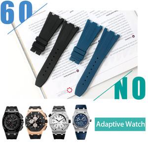 المطاط للماء ل AP رويال أوك ووتش Watchband الفولاذ المقاوم للصدأ أضعاف مشبك حزام حزام سوار ساعة رجل 28MM أسود أزرق