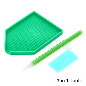 Nail Diamond Dotting Pen + Pegar pegamento pegatina + Rhinestone Holder Lápices de almacenamiento de perforación Mud Point Nail Art Tools 500 unids