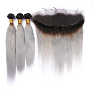 Trames de cheveux vierges avec Ombre # 1B / Grey gris avec faisceaux de cheveux humains péruviens gris argenté avec Ombre avec fermeture frontale en dentelle complète 13x4