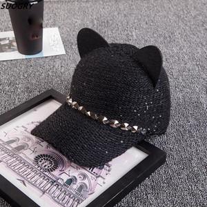 Orejas de gato de las mujeres Gorra de béisbol Gorros de invierno cálido gorra de béisbol de punto Viseras de los remaches de moda para señoras Snapback Hat