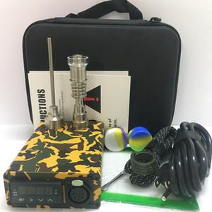 Kafatası ahşap renk E tırnak kiti elektrikli dab Enail PID TC kontrol kutusu e kuvars TItanium çivi ile karbonhidrat cap 20mm bobin isıtıcı