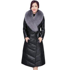 BEAUTY STEELE 2017 Nouveau col de fourrure femme manteau de fourrure artificielle en cuir PU style décontracté à la mode Manteau noir de haute qualité