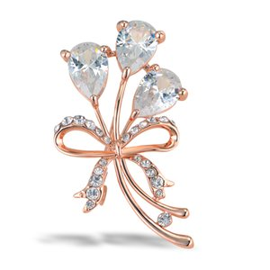 Brooch Broach Jewelry For Women Rose Gold Color Crystal Flower Classic Spille Pins Accessori da sposa per donna