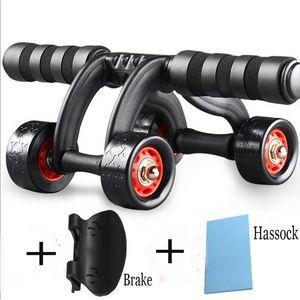 envío libre de la rueda abdominal entrenador del músculo abdominal de la aptitud cuatro ruedas cintura máquina de gimnasia rodilla cojín DHL