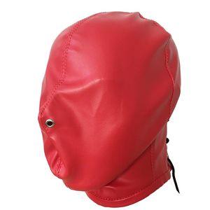 Bandage de tête en faux cuir rouge Enceinte totale Masque de capuche Gimp avec trous de nez Fetish Role Play Costume d'Halloween