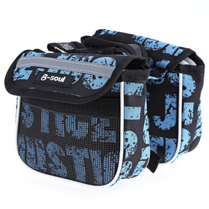 B - SOUL YA039 Mountain Bicycle Top Tube Saddle Double Bag With side reflective stripe, more safety, great for the night riding